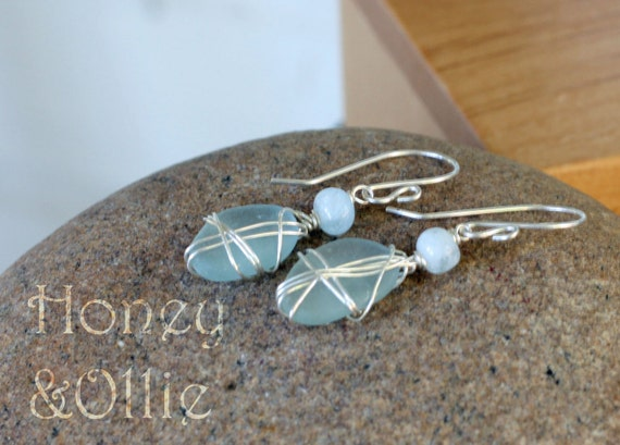 """Stunning """"moonstone"""" sea glass and aquamarine earrings in sterling silver"""