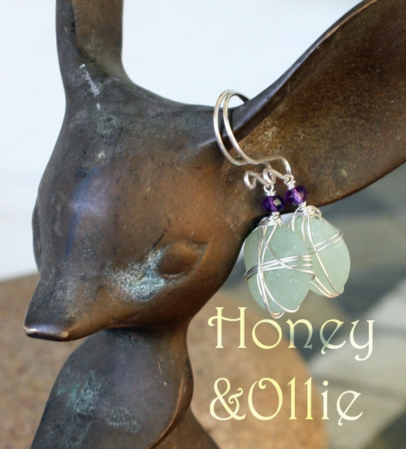 Gorgeous celadon green sea glass earrings with amethyst and sterling silver