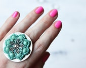 Ring, Sterling Silver, Turquoise, Summer, Cocktail Ring, Statement - The Desert Flower Ring in Turquoise