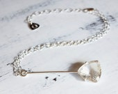 RESERVED for Kristin - Golden rutilated quartz necklace, sterling silver, rock crystal quartz, geometric, triangle - The Joie Necklace
