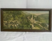 Antique French Rectangular Framed Print Our Lady of Lourdes Notre Dame Lourdes Basilique