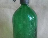 Antique Rare Green Glass Soda Siphon Seltzer Bottle Dream French Nordic Original Decor Piece