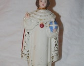 1950s Quirky Infant Jesus of Prague with Sacred Heart Porcelain Statue Handpainted Crazing....