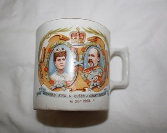 Antique 1902 Coronation Mug King and Queen of Great Britain