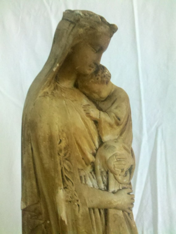 "Large Antique French Madonna and Child 17.5"" Tall French Nordic c1800s"