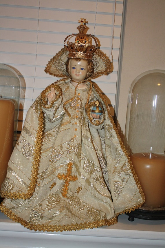 RESERVED Pending Sale Antique Infant Jesus of Prague Statue with GLASS eyes 3 pc Vestments and CROWN