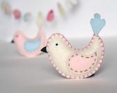 felt Baby Bird for nursery & crib - home decor in antique white