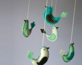 felt birds mobile - baby mobile crib decor -in teal blue,cream, mint green n brown