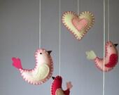 bird baby mobile crib decor - in raspberry pink
