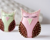 Reserved for Cheryl -felt Baby Owls for nursery & crib - home decor in pink pale green and brown