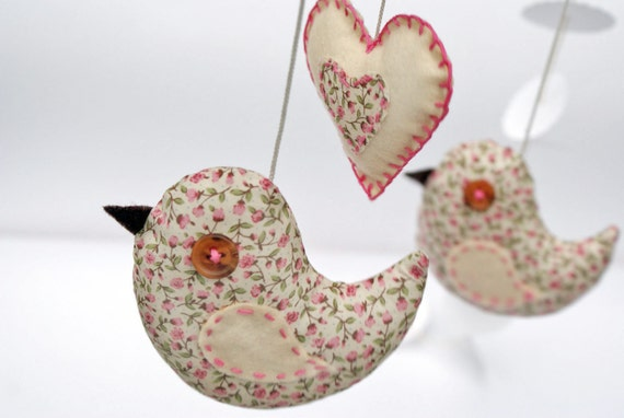 cute birds mobile baby room - hanging nursery decor -  pink, antique white -  with felt heart