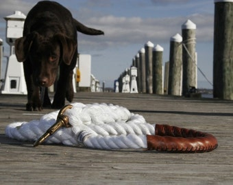 """Nautical Dog Leashes - The Fair Lead """"Classic"""" (White)"""