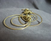 Brass Earrings Wire Wrapped Double Hoops Brushed Finish