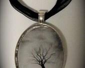 "Original Art Glass Pendant Necklace ""Lonely Tree"""
