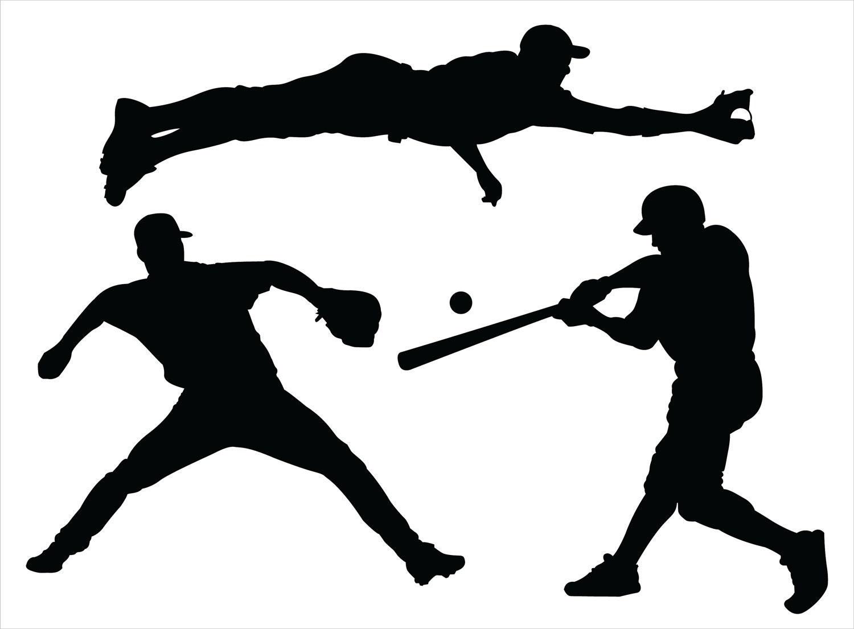 3 Baseball Players Vinyl Wall Decals Sticker 1 24