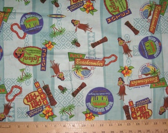 "Hawaii travel theme fabric 51"" X 42"" cotton quilt"