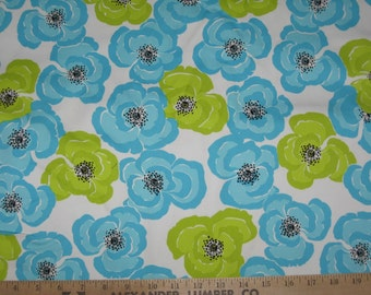 Teal and lime floral twill fabric 1 yard