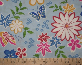 Light blue Buttlerfly and Floral fabric 1 yard