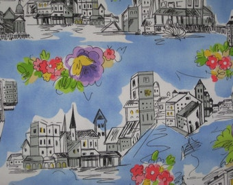 "Euro cities and flowers on blue twill fabric 32"" X 48"""