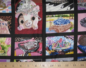 Princess art by Rick Vanderpool for Northcott collage 1 yard fabric