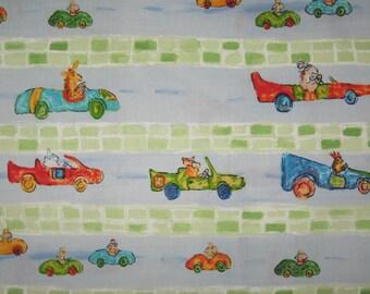 Go Mice Go by Robert Kaufman on light blue 1 yard cotton fabric