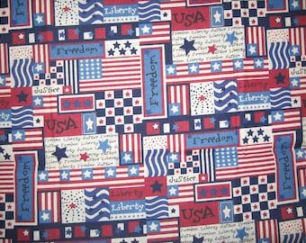 Patriotic Collage  Freedom Liberty USA Justice Stars 1 yard
