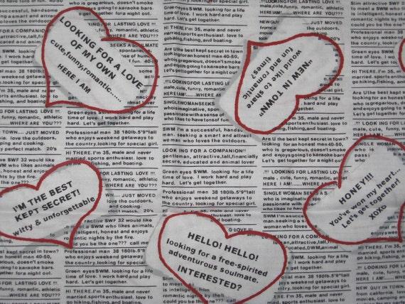 Newspaper Personal Ad Valentines Fabric 1 Yard
