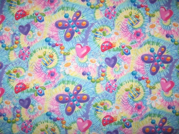 Timeless Treasures Bugs Insects on Tie Dye 1/2 yard