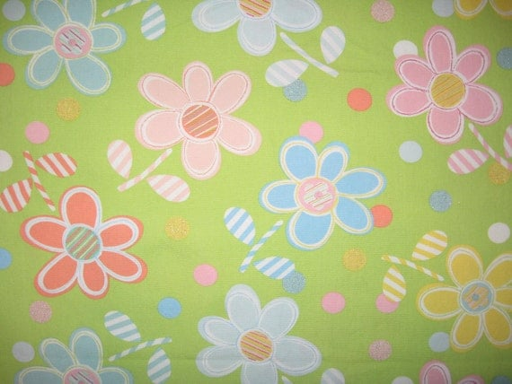 Pink Blue Yellow Flowers On Green Home Decor Fabric 1 Yard