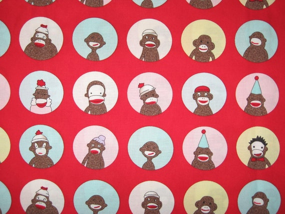 Monkey n Around Sock Monkey Portraits on red by Erin Michael for Moda 1 yard