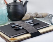 Pencil case alternative / Journal Bandolier Large / Dark Linen