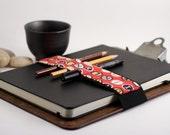 Large Journal Bandolier // red type // (a better pencil case, journal pen holder, book strap, pen loop, pencil roll, pen bandolier)