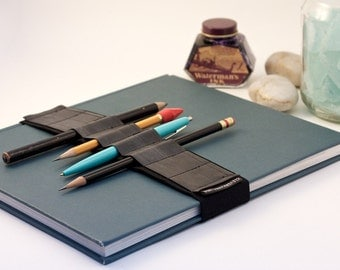 Large Journal Bandolier // recycled rubber // (a better pencil case, journal pen holder, book strap, pen loop, pencil roll, pen bandolier)