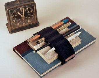 Adjustable Velcro Bandolier // black // (a better pencil case, journal pen holder, book strap, pen loop, pencil roll, pen bandolier)