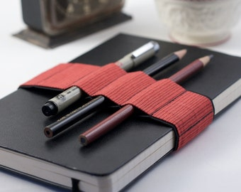 Journal Bandolier // red stripes // (a better pencil case, journal pen holder, book strap, pen loop, pencil roll, pen bandolier)
