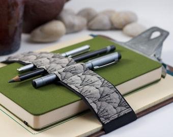 Journal Bandolier Large // black & white shells // (a better pencil case, journal pen holder, book strap, pen loop, pen bandolier)
