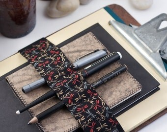 Journal Bandolier Large / Pencil case alternative / Dragonfly