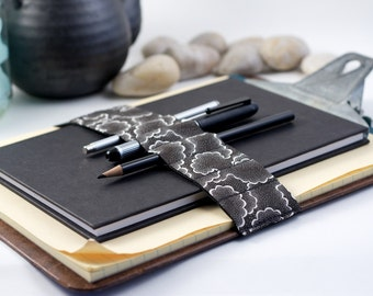 Journal Bandolier Large // black tempest // (a better pencil case, journal pen holder, book strap, pen loop, pencil roll, pen bandolier)