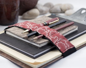 Journal Bandolier Large // red tempest // (a better pencil case, journal pen holder, book strap, pen loop, pencil roll, pen bandolier)