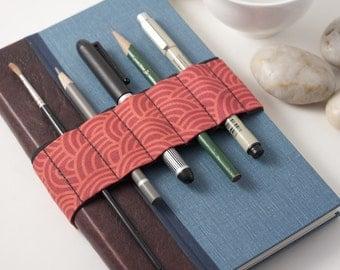 Journal Bandolier // Zen Garden Red // (a better pencil case, journal pen holder, book strap, pen loop, pencil roll, pen bandolier)