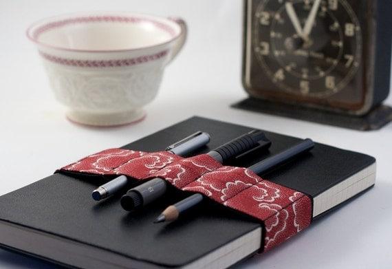 Journal Bandolier // red tempest // (a better pencil case, journal pen holder, book strap, pen loop, pencil roll, pen bandolier)