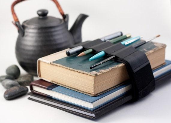 Adjustable Bandolier // black leather // (a better pencil case, journal pen holder, book strap, pen loop, pencil roll, pen bandolier)