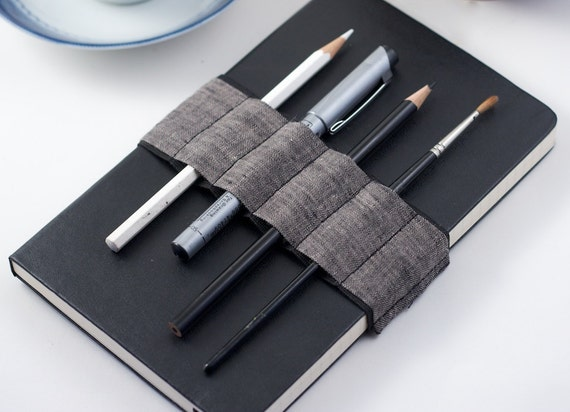 Journal Bandolier  // dark linen // (a better pencil case, journal pen holder, book strap, pen loop, pencil roll, pen bandolier)