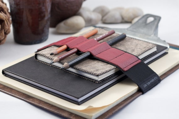 Large Journal Bandolier // red leather // (a better pencil case, journal pen holder, book strap, pen loop, pencil roll, pen bandolier)