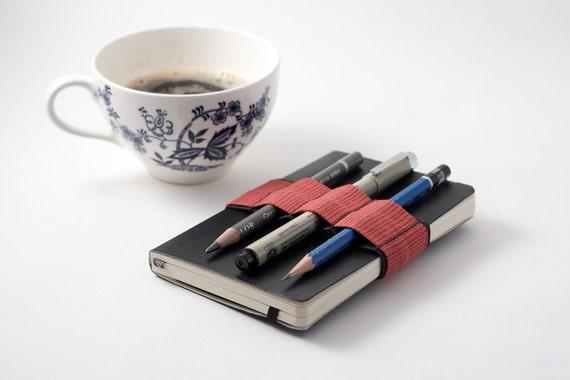 Mini Bandolier  // red stripes // (a better pencil case, journal pen holder, book strap, pen loop, pencil roll, pen bandolier)