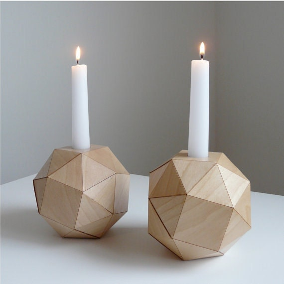 RESERVED  for Collette... set of 2, Polyhedron Wood Candlesticks