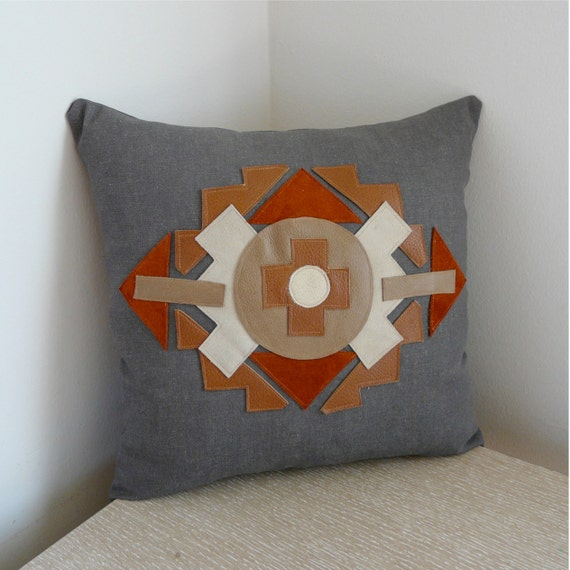 Native American Inspired, Southwestern Leather Pillow Clearance SALE