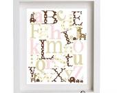 Elephants, Turtles and Giraffes ABC Nursery Art Print