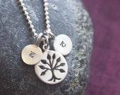 Tree of life. Sterling silver tree of life pendant with personalized hand stamped charms