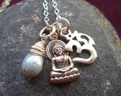 Om, Buddha necklace with wrapped blue Czech glass bead